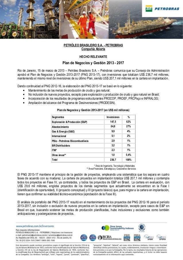 PETRÓLEO BRASILEIRO S.A. - PETROBRAS                                                   Compañía Abierta                   ...