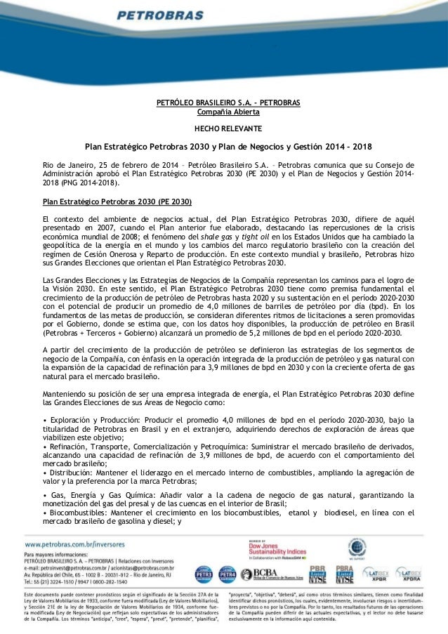 PETRÓLEO BRASILEIRO S.A. - PETROBRAS Compañia Abierta HECHO RELEVANTE Plan Estratégico Petrobras 2030 y Plan de Negocios y...