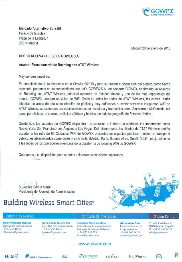 Hecho relevante gowex firma un acuerdo de roaming con at&t