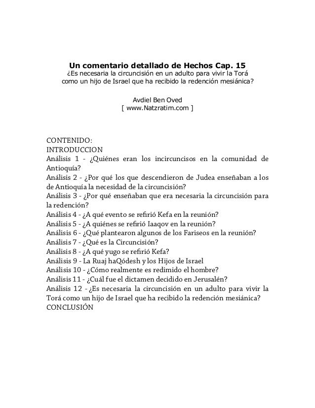 Un comentario detallado de Hechos Cap. 15 ¿Es necesaria la circuncisión en un adulto para vivir la Torá como un hijo de Is...