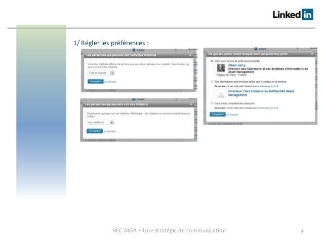 Une méthodologie de communication sur les réseaux sociaux professionnels - Annexe paramétrage de Linkedin Slide 3