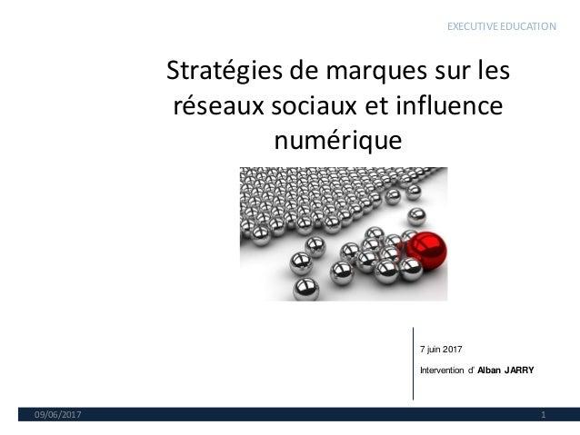 Stratégies de marques sur les réseaux sociaux et influence numérique 09/06/2017 1 7 juin 2017 Intervention d' Alban JARRY ...