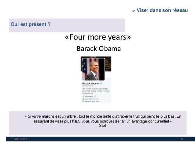 09/06/2017 14 «Four more years» Barack Obama Qui est présent ? « Si votre marché est un arbre , tout le monde tente d'attr...