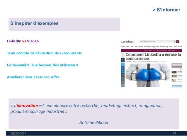 09/06/2017 34 LinkedIn vs Viadeo Tenir compte de l'évolution des concurrents Correspondre aux besoins des utilisateurs Amé...