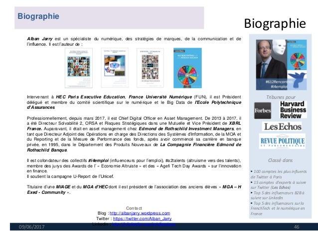 Biographie 09/06/2017 46 Tribunes pour Classé dans ► 100 comptes les plus influents de Twitter à Paris ► 15 comptes d'expe...