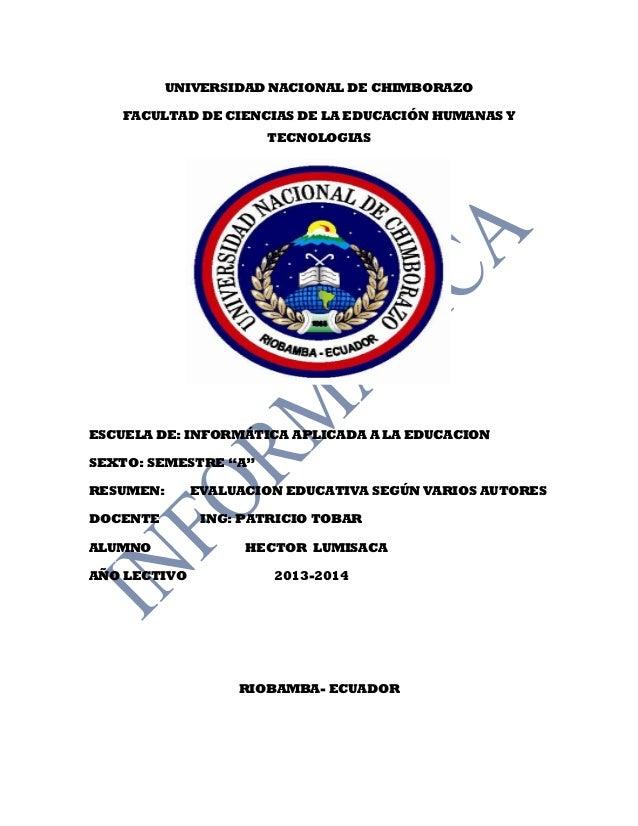 UNIVERSIDAD NACIONAL DE CHIMBORAZO FACULTAD DE CIENCIAS DE LA EDUCACIÓN HUMANAS Y TECNOLOGIAS ESCUELA DE: INFORMÁTICA APLI...
