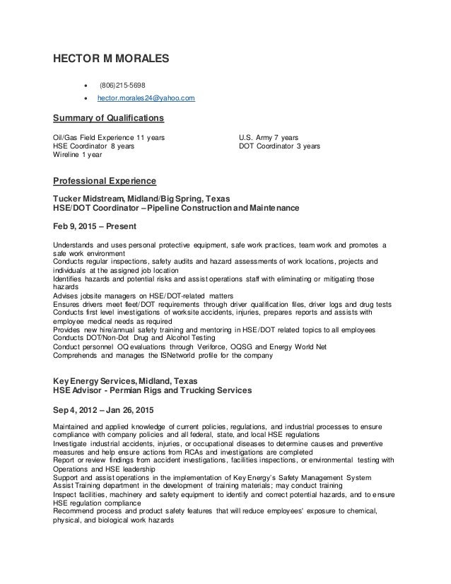 Hector M Morales Safety Resume