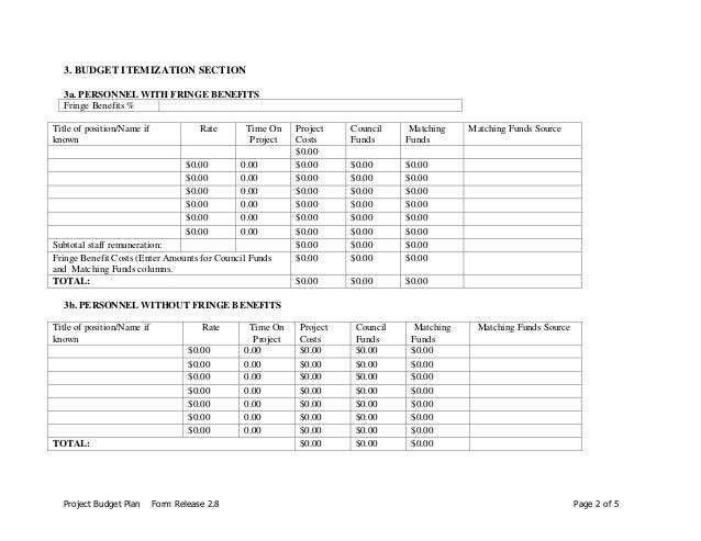 budget plan form