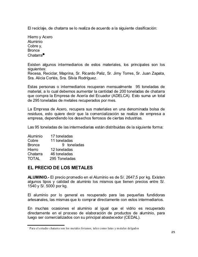 El reciclaje, de chatarra se lo realiza de acuerdo a la siguiente clasificación:Hierro y AceroAluminioCobre y,BronceChatar...