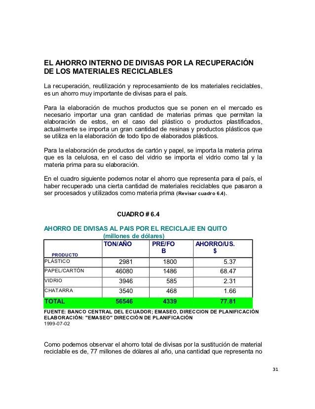 EL AHORRO INTERNO DE DIVISAS POR LA RECUPERACIÓNDE LOS MATERIALES RECICLABLESLa recuperación, reutilización y reprocesamie...