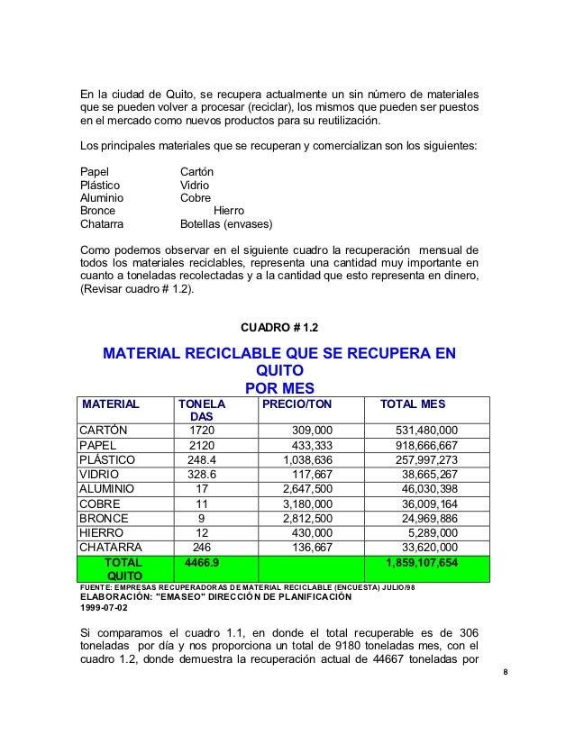 En la ciudad de Quito, se recupera actualmente un sin número de materialesque se pueden volver a procesar (reciclar), los ...