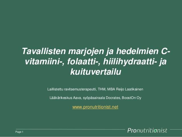 Tavallisten marjojen ja hedelmien C- vitamiini-, folaatti-, hiilihydraatti- ja kuituvertailu Laillistettu ravitsemusterape...
