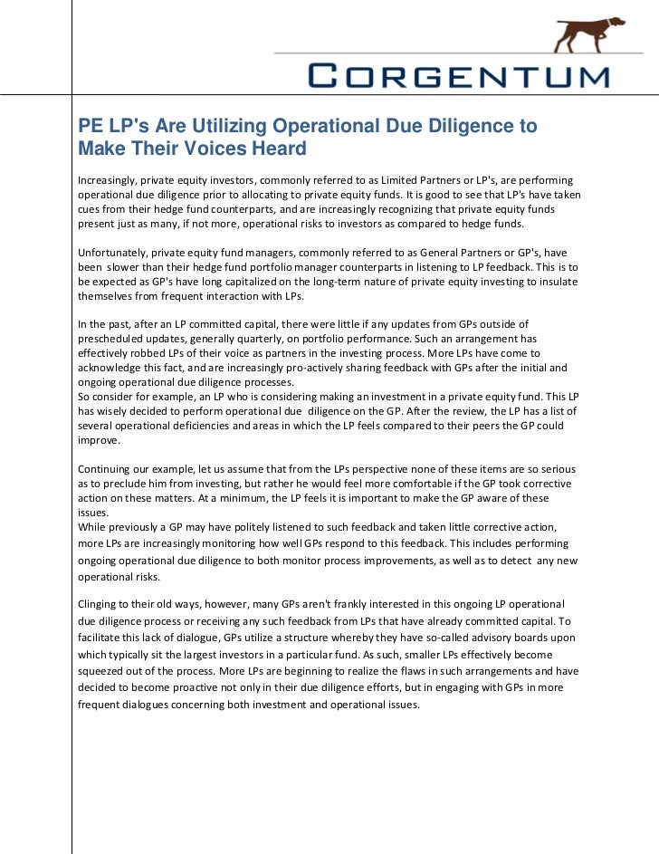PE LPs Are Utilizing Operational Due Diligence toMake Their Voices HeardIncreasingly, private equity investors, commonly r...