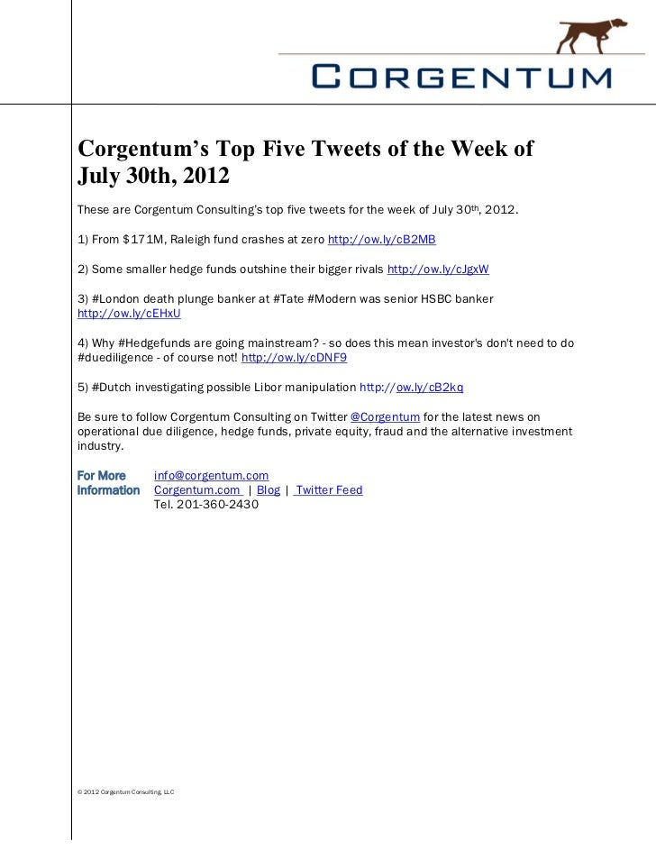 Corgentum's Top Five Tweets of the Week ofJuly 30th, 2012These are Corgentum Consulting's top five tweets for the week of ...