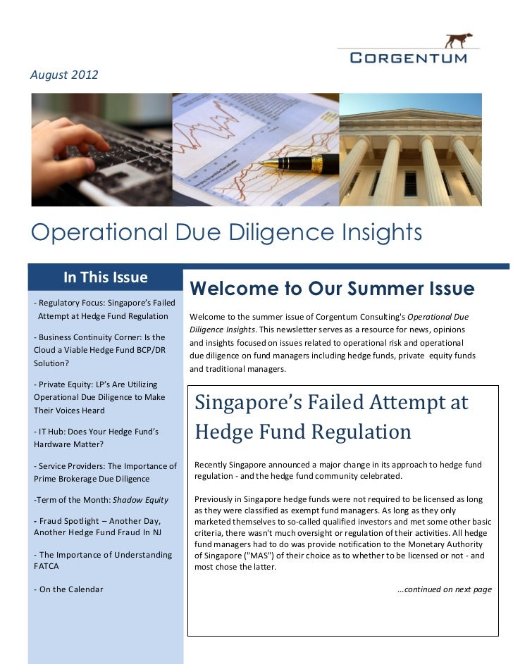 August 2012Operational Due Diligence Insights        In This Issue                                         Welcome to Our ...