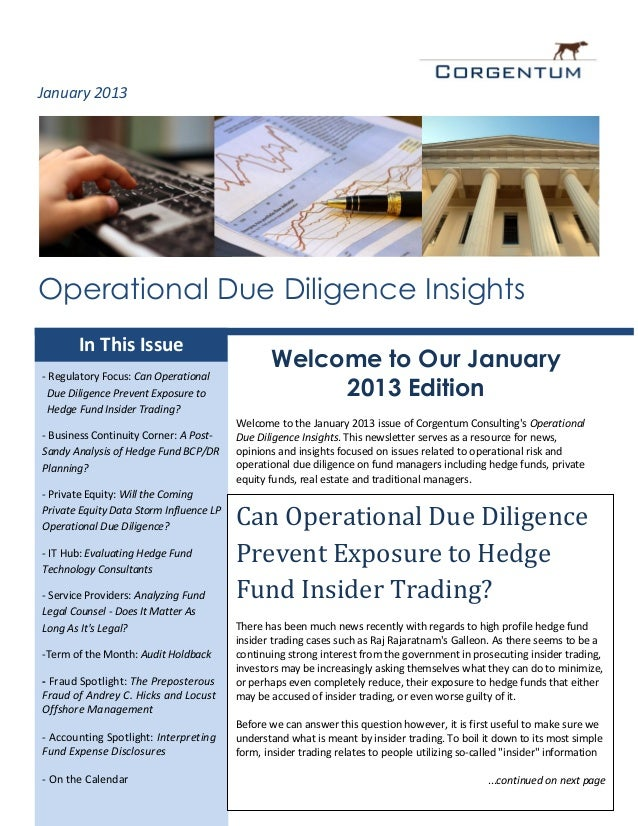 January 2013Operational Due Diligence Insights       In This Issue                                                Welcome ...