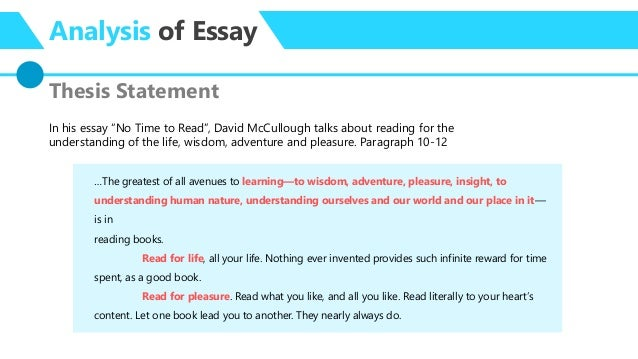 essay analysis no time to by david mccullough  unprepared summary 5 analysis of essay