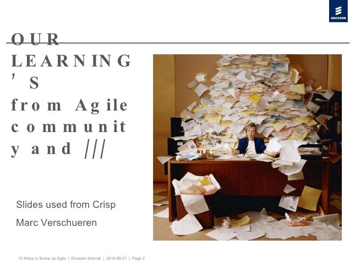 OUR LEARNING'S from Agile community and /// Slides used from Crisp Marc Verschueren