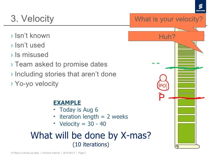 3. Velocity <ul><li>Isn't known </li></ul><ul><li>Isn't used </li></ul><ul><li>Is misused </li></ul><ul><li>Team asked to ...