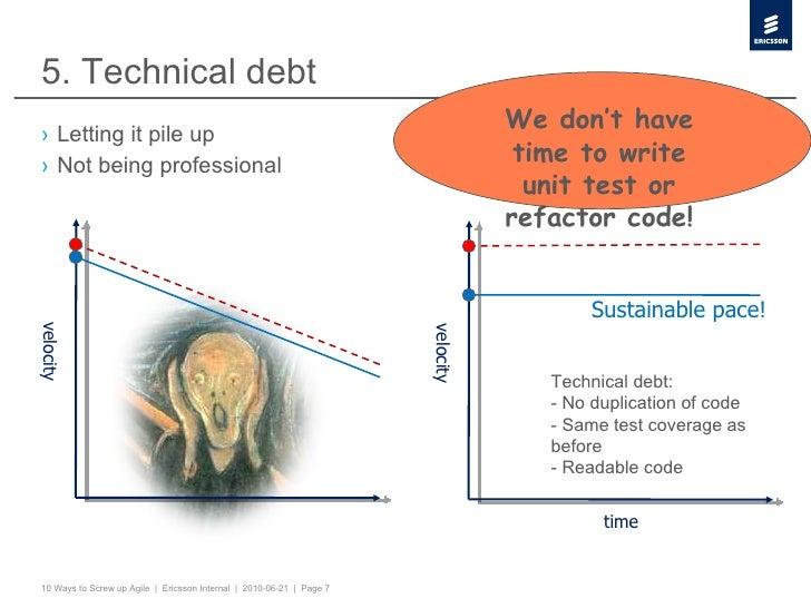 5. Technical debt <ul><li>Letting it pile up </li></ul><ul><li>Not being professional </li></ul>velocity velocity time Sus...