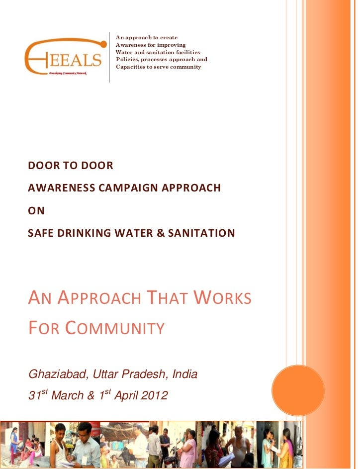An approach to create                 Awareness for improving                 Water and sanitation facilities             ...