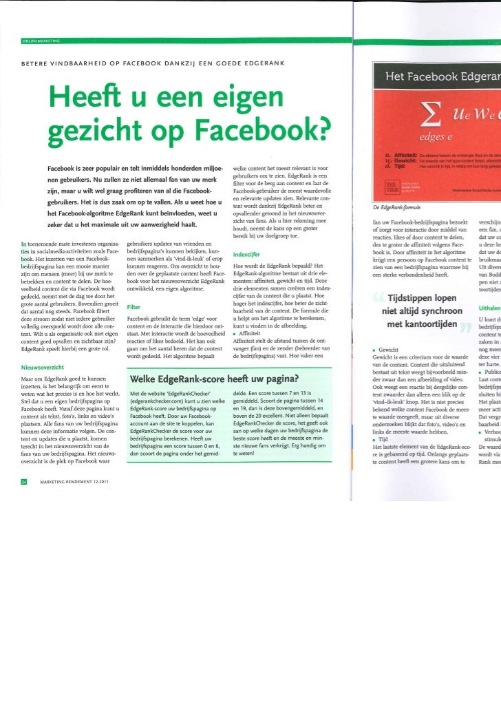 58930426d4a9e9 Artikel Marketing Rendement I Heeft u een eigen gezicht op facebook  I  Nederlandse Social Media