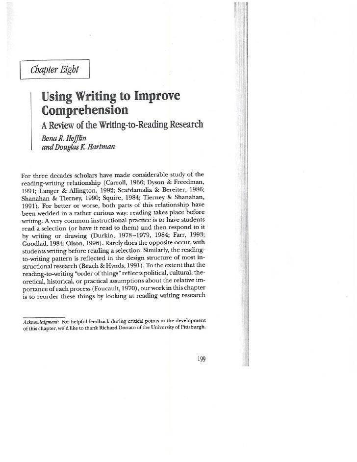 Hefflin Hartman 2002 Writing to Improve Comprehension