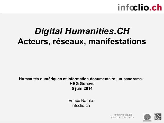info@infoclio.ch T +41 31 311 75 72 Digital Humanities.CH Acteurs, réseaux, manifestations Enrico Natale infoclio.ch Human...