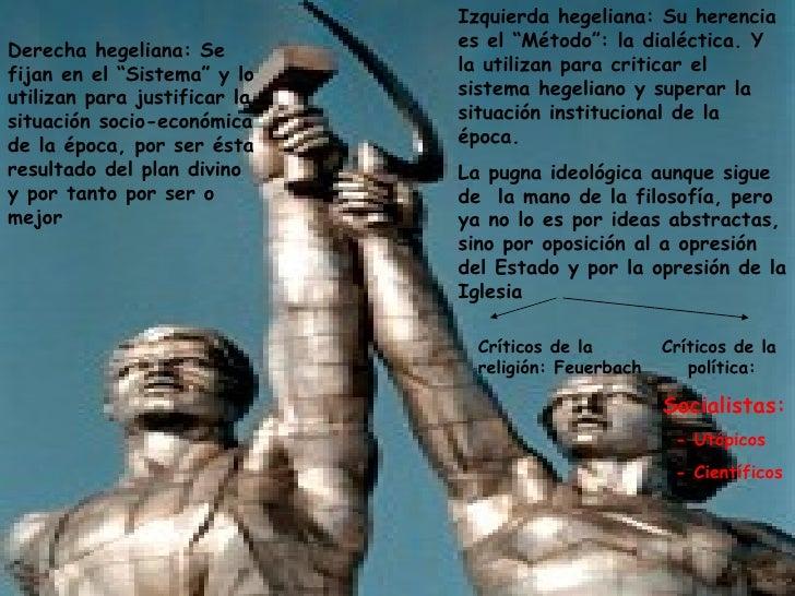 """Izquierda hegeliana: Su herencia Derecha hegeliana: Se         es el """"Método"""": la dialéctica. Y fijan en el """"Sistema"""" y lo..."""