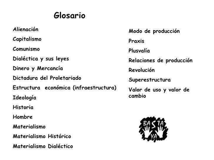 Glosario Alienación                               Modo de producción Capitalismo                              Praxis Comun...