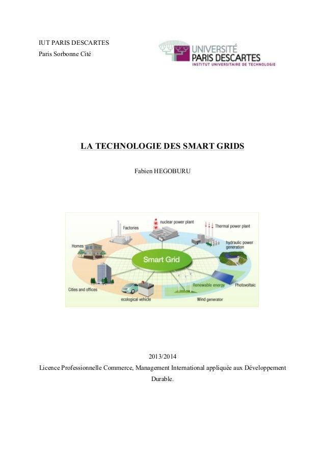 IUT PARIS DESCARTES Paris Sorbonne Cité LA TECHNOLOGIE DES SMART GRIDS Fabien HEGOBURU 2013/2014 Licence Professionnelle...