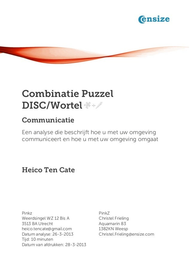 Combinatie PuzzelDISC/WortelCommunicatieEen analyse die beschrijft hoe u met uw omgevingcommuniceert en hoe u met uw omgev...