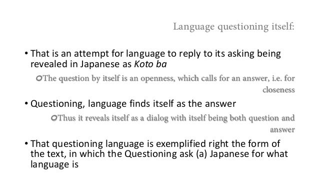 Heidegger questioning (a) Japanese