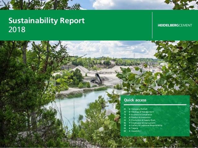 Sustainability Report 2018 Quick access 05 Company Portrait 10 Strategy & Management 19 Business & Compliance 25 Produ...