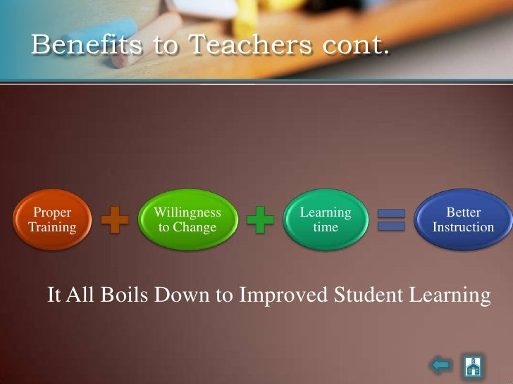 Benefits to Teachers cont.      Proper       Willingness    Learning       Better Training      to Change        time     ...