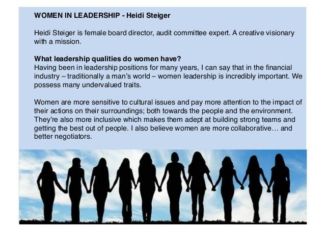 WOMEN IN LEADERSHIP - Heidi Steiger Heidi Steiger is female board director, audit committee expert. A creative visionary ...