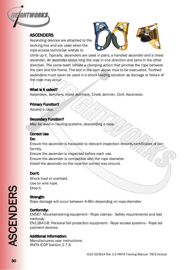 Heightworks IRATA Training Manual Version 2 - Rope Access Training Ma…