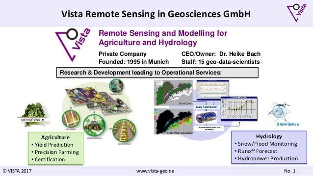 © VISTA 2017 www.vista-geo.de No. 1 Vista Remote Sensing in Geosciences GmbH Remote Sensing and Modelling for Agriculture ...
