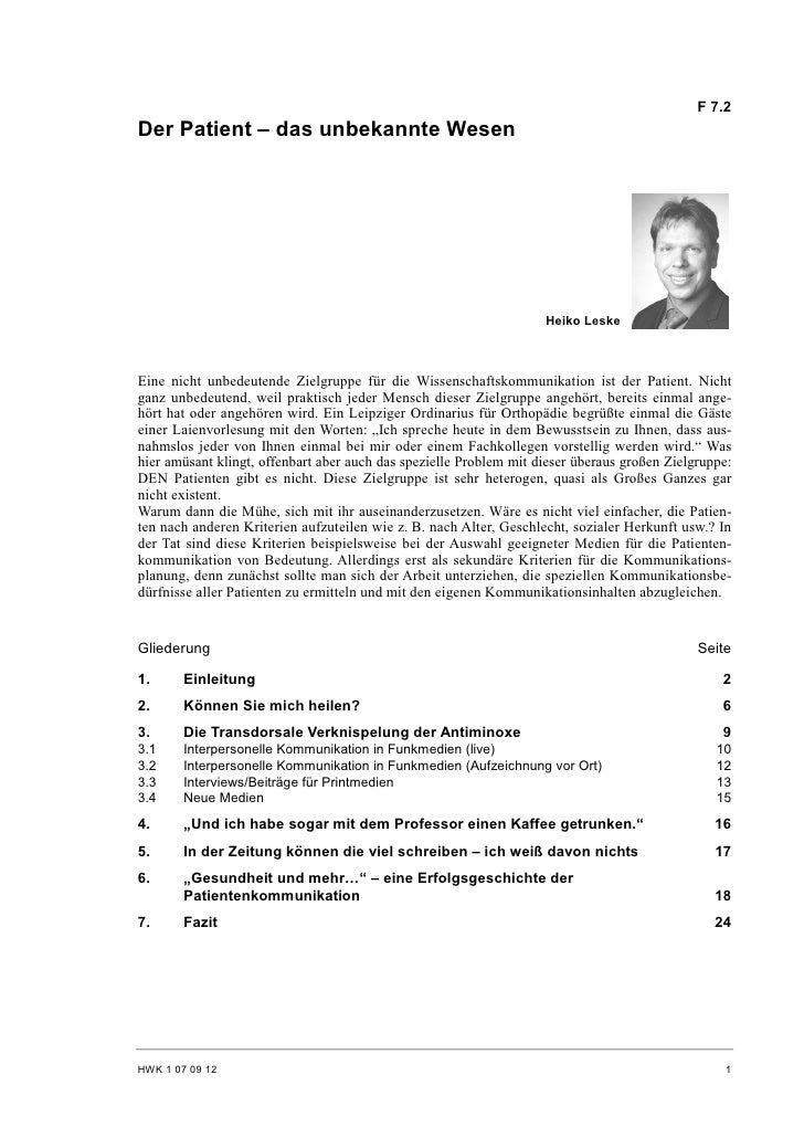 F 7.2 Der Patient – das unbekannte Wesen                                                                         Heiko Les...