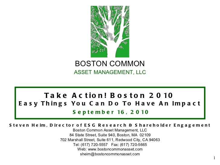 BOSTON COMMON ASSET MANAGEMENT, LLC Take Action! Boston 2010 Easy Things You Can Do To Have An Impact   September 16, 2010...