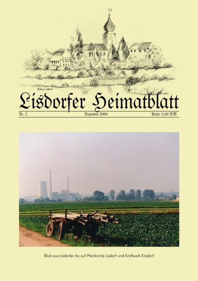 Impressum: Herausgeber: Verein für Heimatkunde Lisdorf e. V. (VHL) Am Ginsterberg 13, 66740 Saarlouis–Lisdorf Tel.u.Fax: 0...