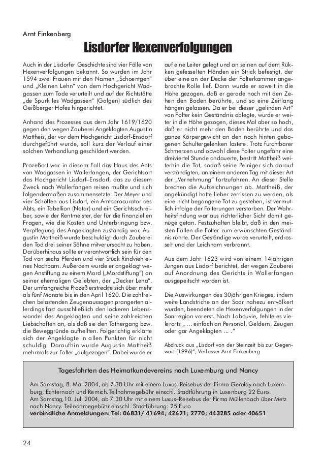 26 Mitgliederstruktur des Vereins für Heimatkunde Lisdorf e.V. Stand 15.02.2004 Saarländischen Volkskunde zu den Jahrestag...