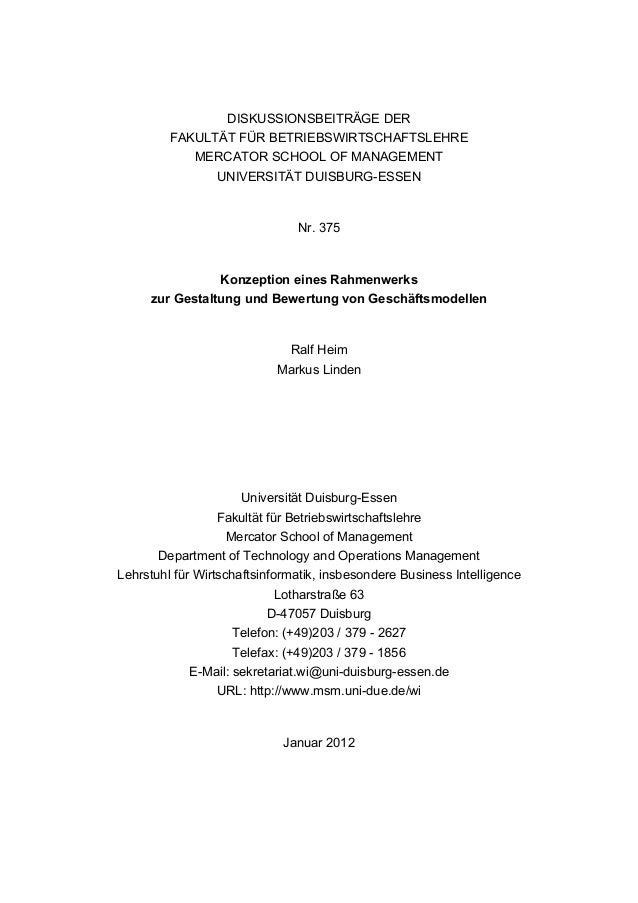 DISKUSSIONSBEITRÄGE DER FAKULTÄT FÜR BETRIEBSWIRTSCHAFTSLEHRE MERCATOR SCHOOL OF MANAGEMENT UNIVERSITÄT DUISBURG-ESSEN Nr....