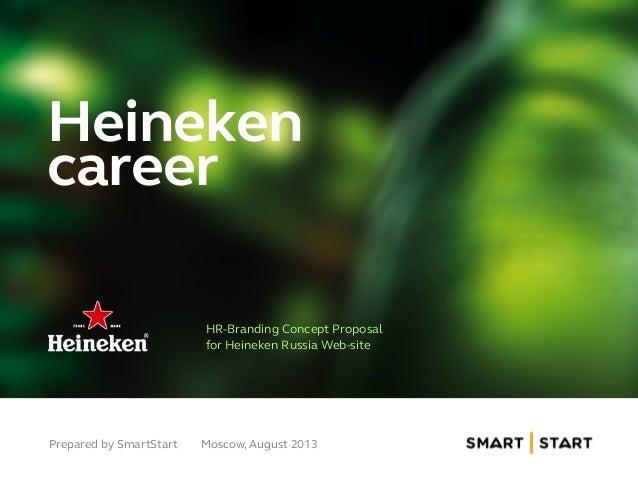 Heineken career HR-Branding Concept Proposal for Heineken Russia Web-site Prepared by SmartStart Moscow, August 2013