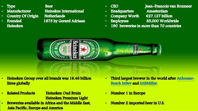 heineken swot analysis Breweries (heineken), lion (kirin) and independent (asahi)  swot  analysis the new zealand beverage industry is well positioned for further  growth, but.
