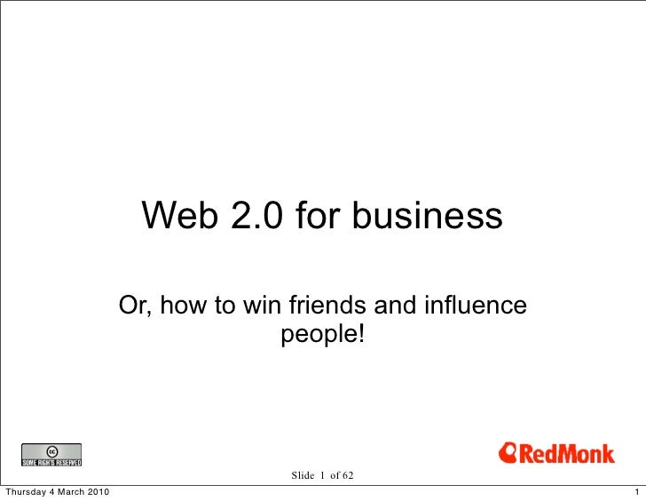 Web 2.0 for business                          Or, how to win friends and influence                                       p...