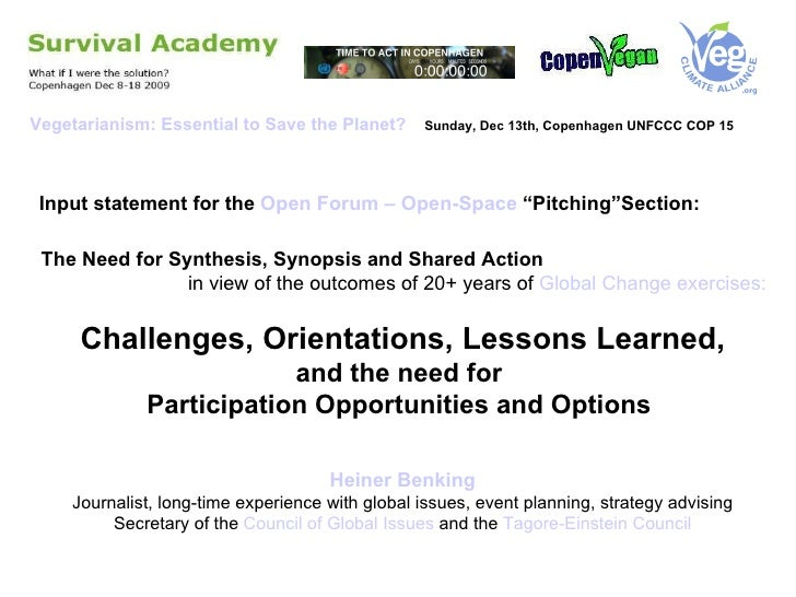 "Input statement for the  Open Forum – Open-Space  ""Pitching""Section: The Need for Synthesis, Synopsis and Shared Action  i..."