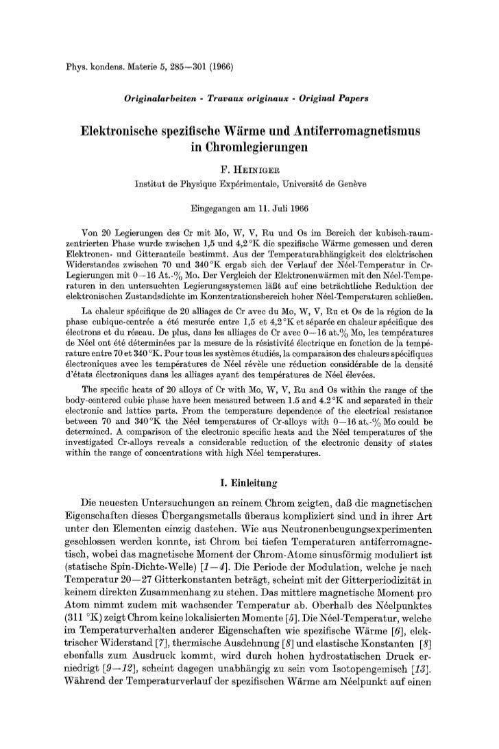 Phys. kondens. Materie 5, 285--301 (1966)                        Originalarbeiten - T r a v a u x originaux - Original Pap...