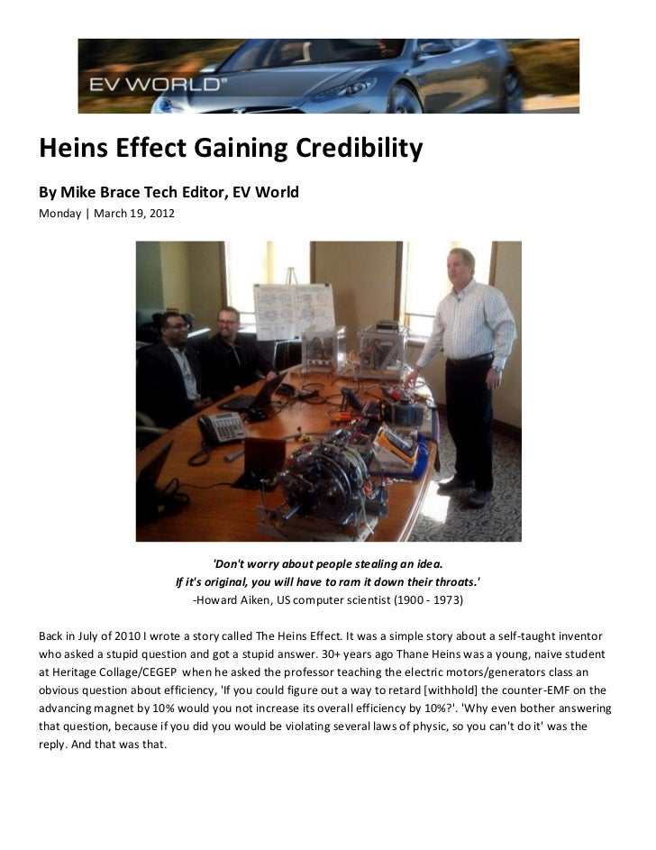 Heins Effect Gaining CredibilityBy Mike Brace Tech Editor, EV WorldMonday | March 19, 2012                                ...