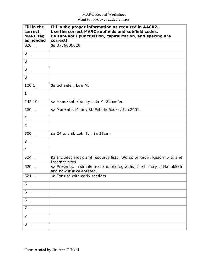MARC Record Worksheet                              Want to look over added entries,Fill in the   Fill in the proper inform...